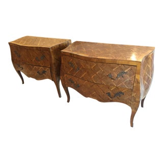 1940s Italian Inlaid Wooden Bombe Chest - a Pair