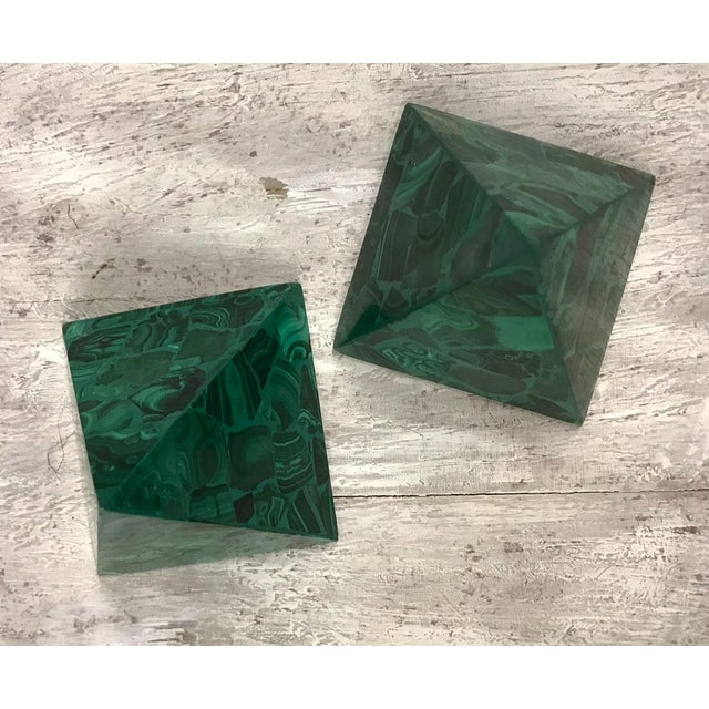 Malachite Pyramidal Sculptures — a Pair For Sale In Atlanta - Image 6 of 8
