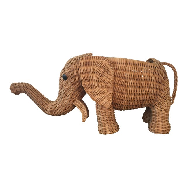 Wicker Elephant Planter For Sale