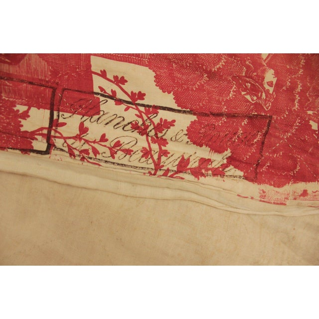 Red Antique French Toile l'Art d'Aimer Chef De Piece Bordeaux Coverlet For Sale - Image 8 of 12