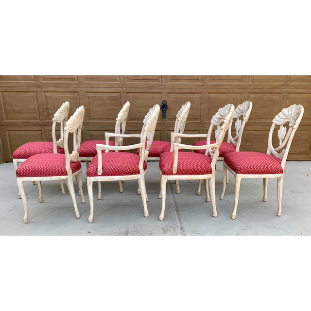 Wood Art Nouveau Style Carved Dining Chairs - Set of 8 For Sale - Image 7 of 12