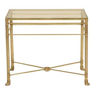 Mid-Century Modern Brass End Table with Paw Feet