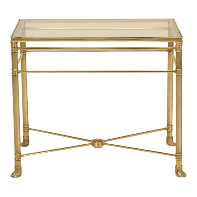 Mid-Century Modern Brass End Table with Paw Feet For Sale