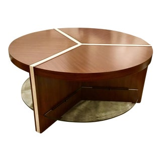 Henredon Modern Venue Round Mahogany Finished Wood Cocktail Table For Sale