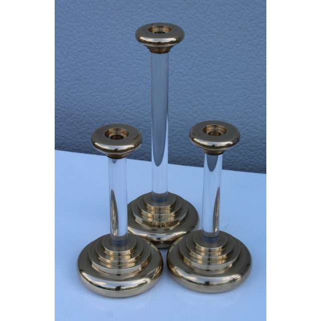 1980s Lucite and Brass Large Candleholders For Sale - Image 11 of 13