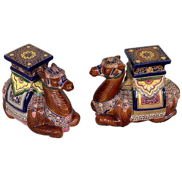 Mid 20th Century Pair of Hollywood Regency Moorish Majolica Camel Garden Seats For Sale - Image 5 of 5