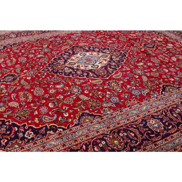 "Textile Vintage Persian Kashan Rug, 9'07"" X 13'00"" For Sale - Image 7 of 10"
