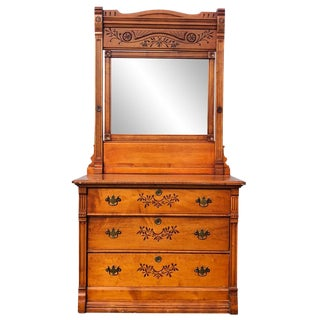 19th Century Victorian Birds Eye Maple Mirrored Country Dresser For Sale