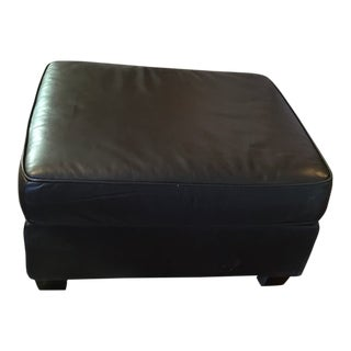 Modern West Elm Brown Leather Henry Ottoman For Sale