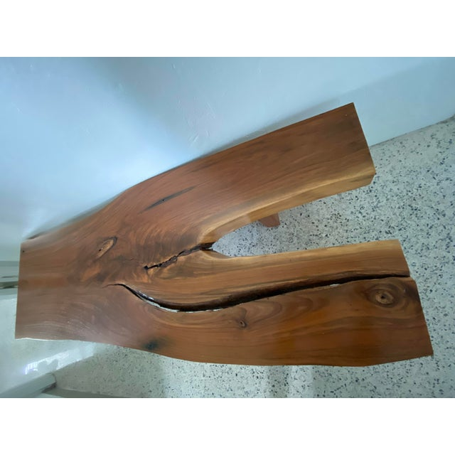 Farmhouse Handcrafted Live Edge Teak Slab Bench or Coffee Table For Sale - Image 3 of 7