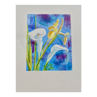 """French Bouquet of Iris and Calla Lilies"" Contemporary Mixed-Media Painting For Sale"