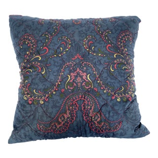 Blue Paisley Silk Twill Scarf Pillow Cover For Sale