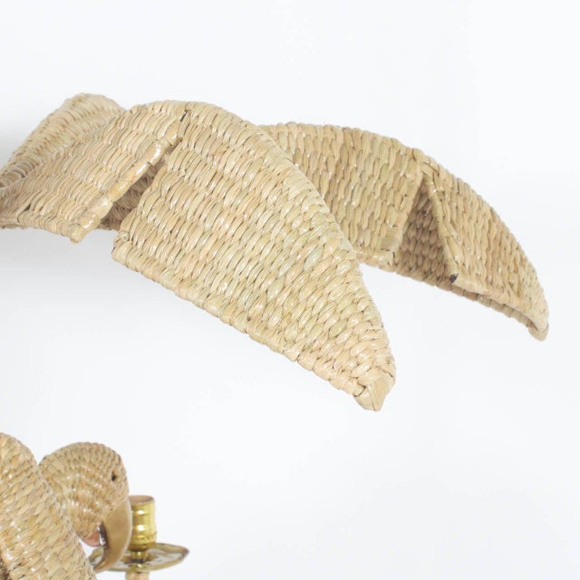 Early 21st Century Mario Torres Wicker Parrot Chandelier For Sale - Image 5 of 7