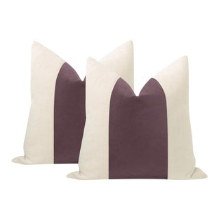 "22"" Hyacinth Italian Velvet Panel & Linen Pillows - a Pair For Sale"