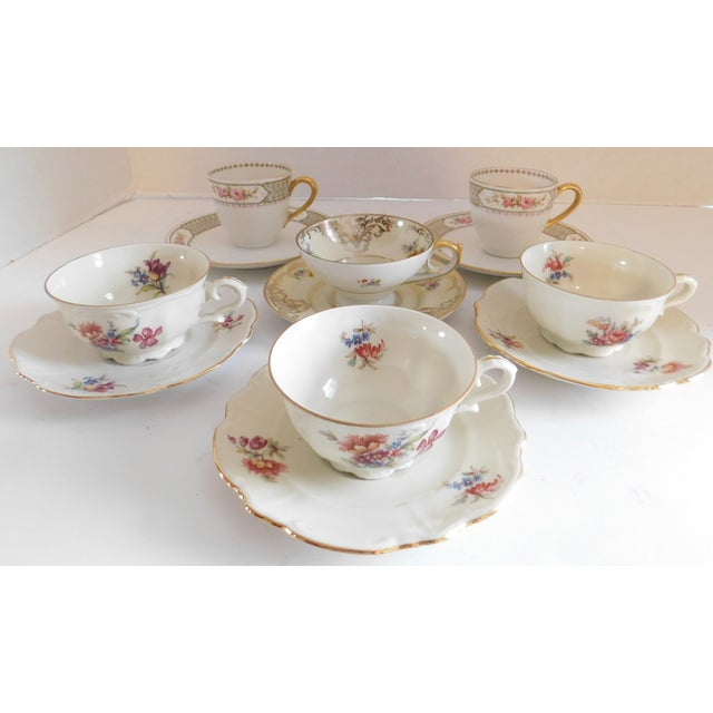 Antique Porcelain Demi-Tasse Cups & Saucers German and Limoges MIX and Match Sets - Service for 6 For Sale - Image 13 of 13