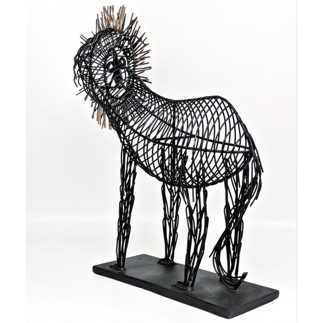Vintage Lion Wire Sculpture For Sale In Miami - Image 6 of 11