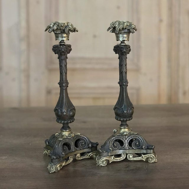 Pair of Napoleon III Period Bronze Candlesticks For Sale - Image 11 of 11