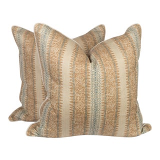 Tribal Linen Ikat Stripe Pillows, a Pair For Sale