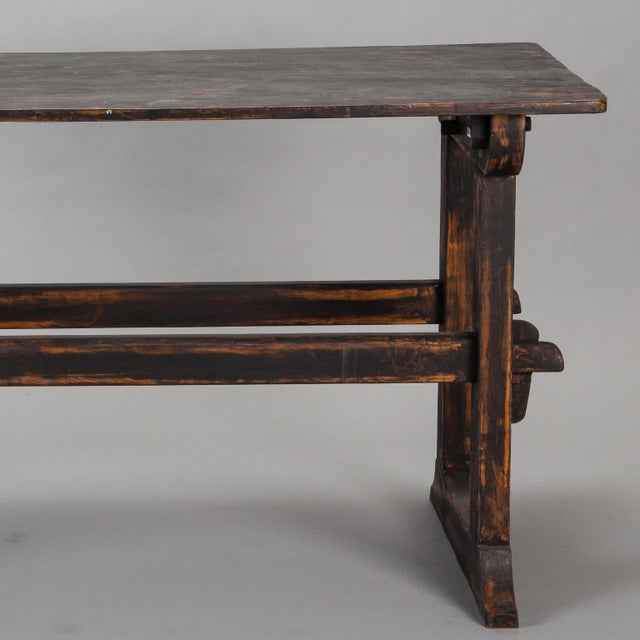 Late 18th Century 18th Century Swedish Trestle Table with Black Finish For Sale - Image 5 of 7