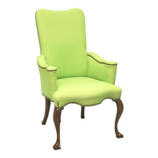 Vintage French Provincial Accent Chair in Green Polka Dot For Sale