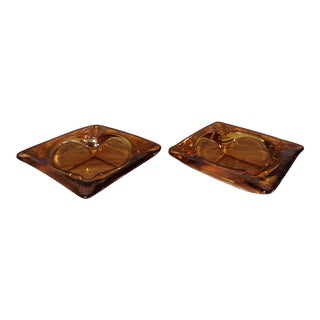 Vintage Glass Ashtrays - A Pair For Sale