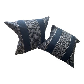 Navy Patterned Pillows - a Pair For Sale