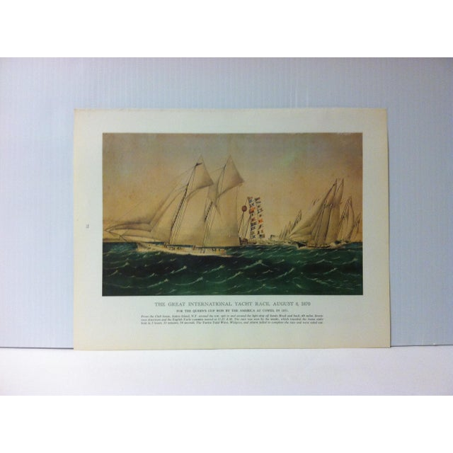 """Vintage Currier & Ives Chronicles of America Color Print, """"The Great International Yacht Race - August 8, 1870"""" Circa 1960 For Sale - Image 4 of 4"""