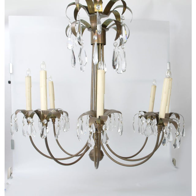 Brass Palm Leaf Chandelier - Image 2 of 10