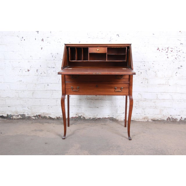 Brown French Louis XV Style Mahogany Drop-Front Secretary Desk With Mother Of Pearl Inlay For Sale - Image 8 of 13