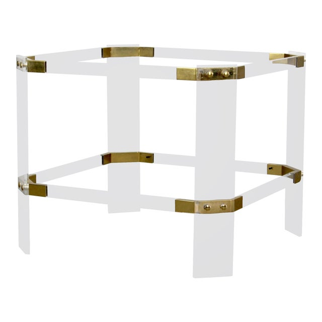 Vintage Brass and Lucite Side Table For Sale