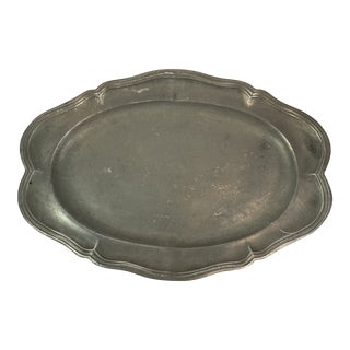 19th C. French Pewter Platter For Sale