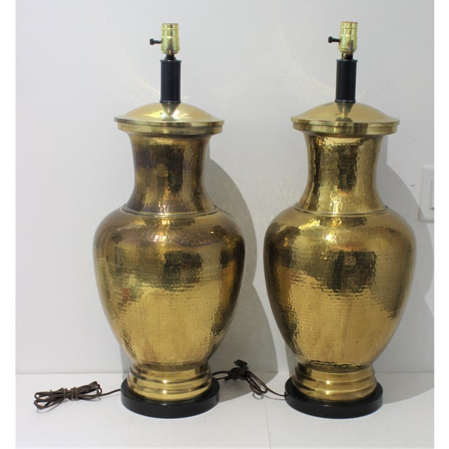 Large Mid-Century Table Lamps made from Artisan Hammered Brass Vases - a Pair - from a Palm Beach estate overall size,...