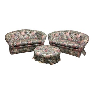 Baker Floral Settees & Ottoman - Set of 3