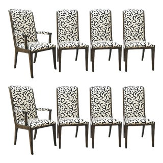 Bernhard Rohne for Mastercraft Burled Parsons Dining Chairs - Set of 8 For Sale