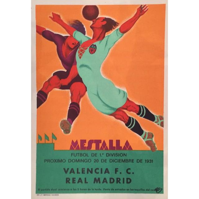 Vintage Spanish Soccer Poster, Valencia vs Real Madrid - Image 1 of 2