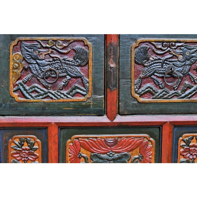 19th Century Tibetan Hand Carved Chest For Sale - Image 9 of 11