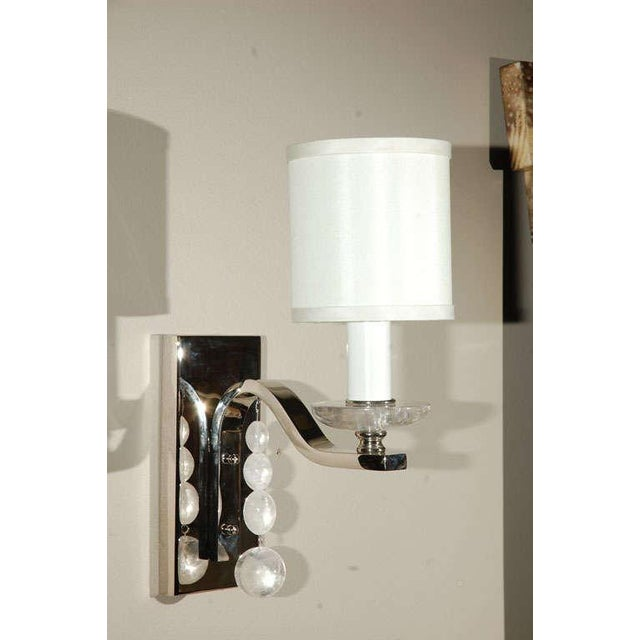 Glass Ball Sconce with Rock Crystal - Image 2 of 5