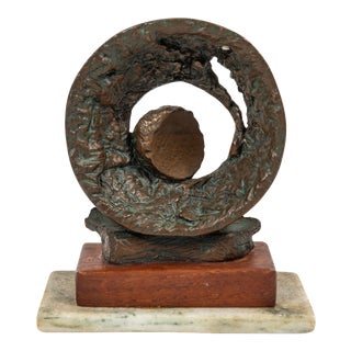 Vintage Abstract Bronze Sculpture For Sale