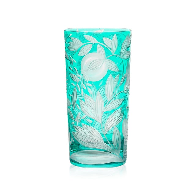 Traditional Verdure Highball Glasses, Set of 6, Teal For Sale - Image 3 of 4