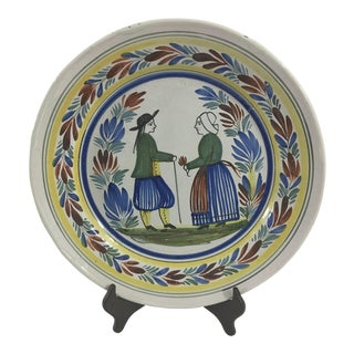Large 19th Century Quimper Platter With Couple