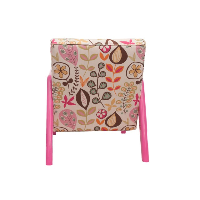 Mid-Century Modern Atomic Chair in Pink Floral Pattern For Sale - Image 3 of 6