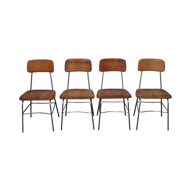 Heywood Wakefield Mid Century Chrome Frame Side Chairs - S/4 For Sale