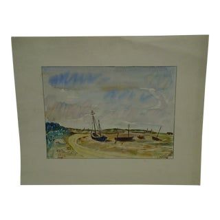"Vintage Conrad ""Land Locked Boats"" Original Print For Sale"