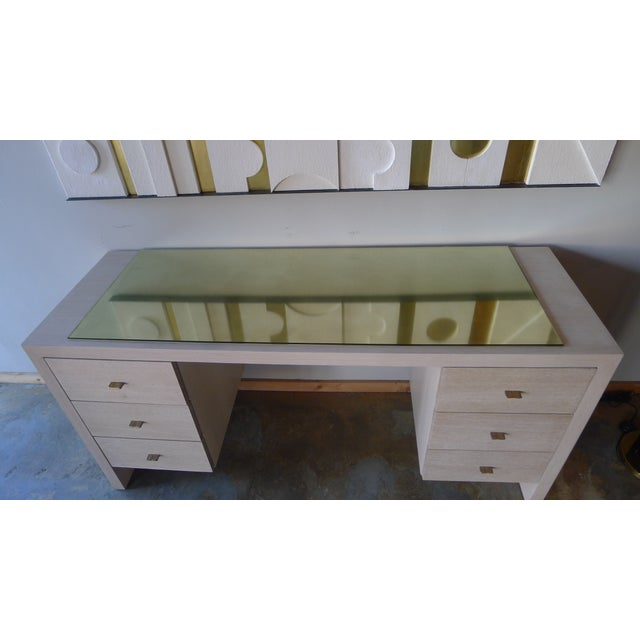Tan Modern Desk in Bleached Oak with Brass For Sale - Image 8 of 9