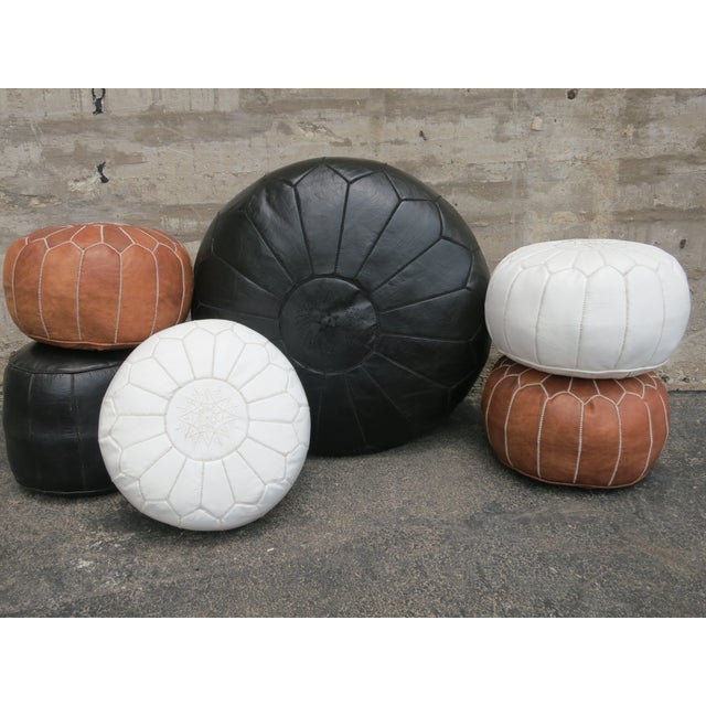 Moroccan Black Leather Pouf - Image 5 of 6