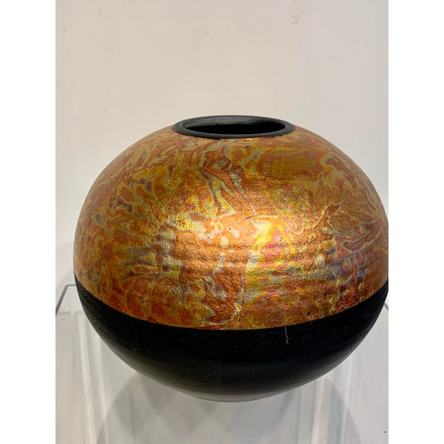 1980s 1980s Southwestern Ceramic Raku Vase by Michael Weinberg For Sale - Image 5 of 11