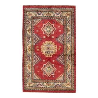"Modern Kazak Wool Rug, 2'7"" X 4'1"""