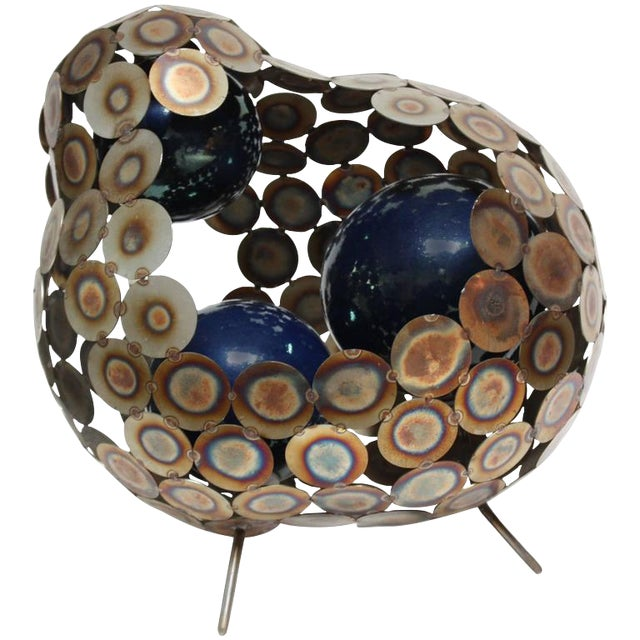 Steel and Enameled Porcelain Abstract Brutalist Table Sculpture - Image 1 of 10