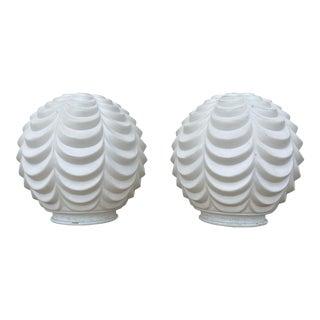 White Art Deco Glass Globe Lamp Shades - a Pair For Sale