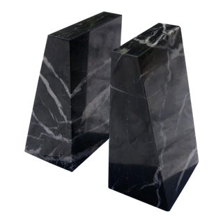 Mid Century Black Marble Bookends - a Pair For Sale